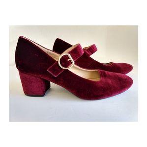 London Rebel Red Wine Velvet Heels w/ Strap/Buckle